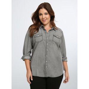 Torrid Grey Wash Denim Button Front Shirt